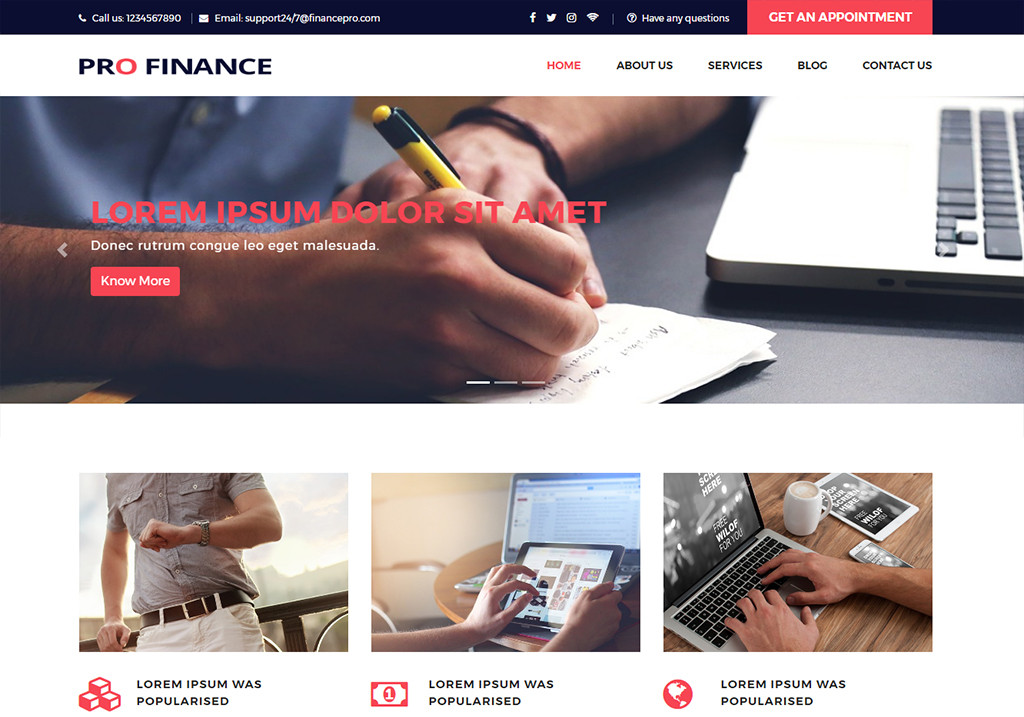 Pro Finance Website Templates Free Download For Financial Company Free Bootstrap Website Templates